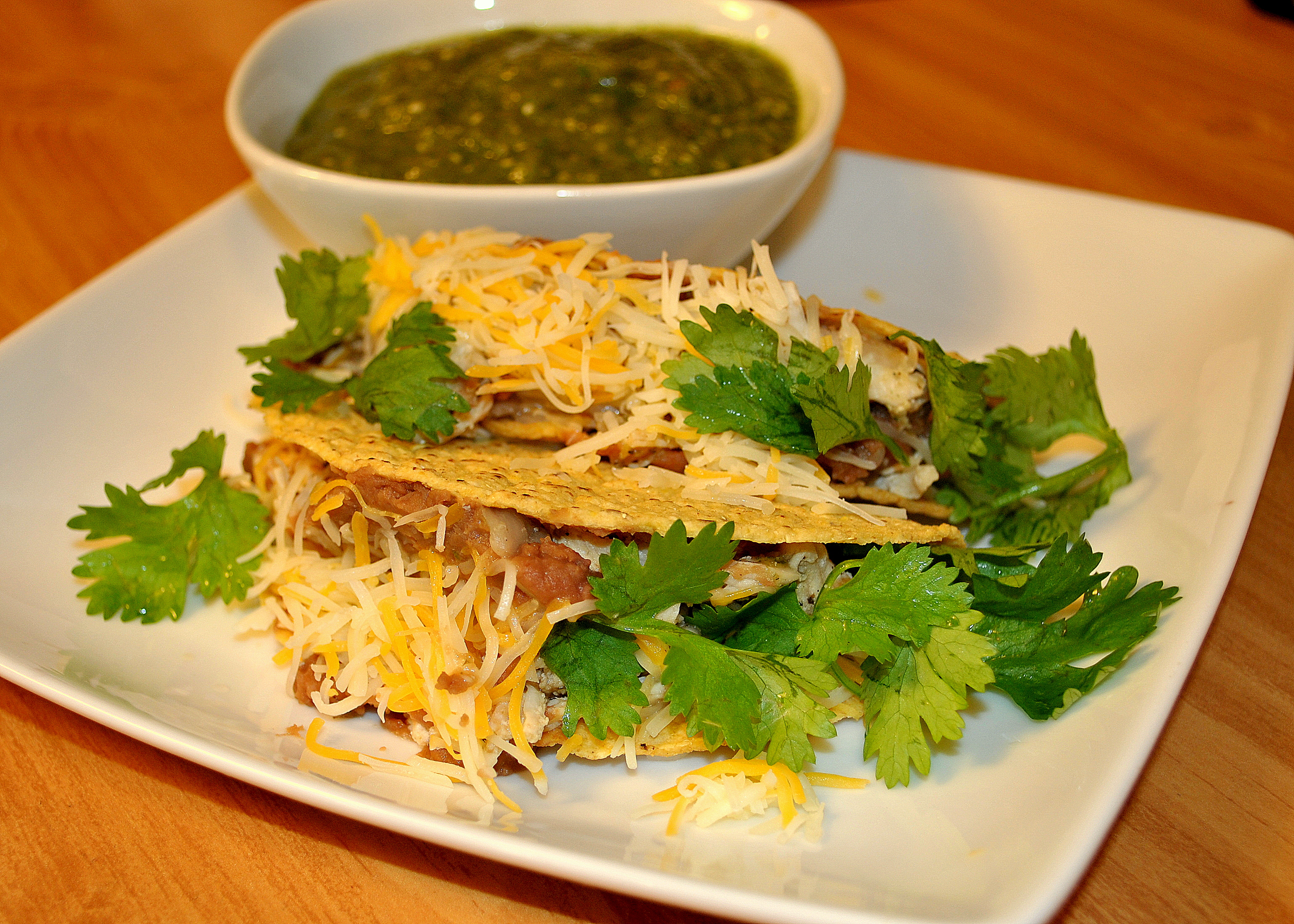 ... shredded chicken, refried beans & cheese with salsa verde on the side